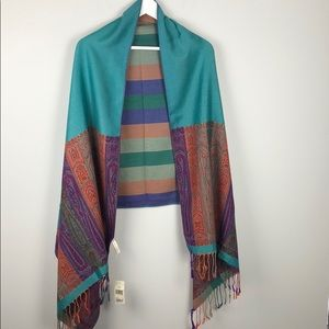 Collection XIIX Scarf Shawl in Green With Tassels